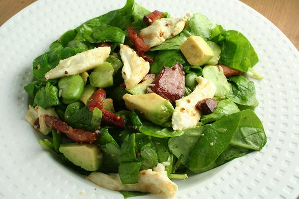 bacon-broad-bean-and-mozzarella-salad