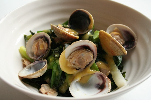 ... Cuisine ? Japanese Clams and Spring Onions with Miso and Mustard Sauce