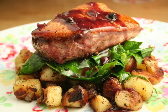 with duck breasts marinated duck breast duck breast potatoes sauteed ...