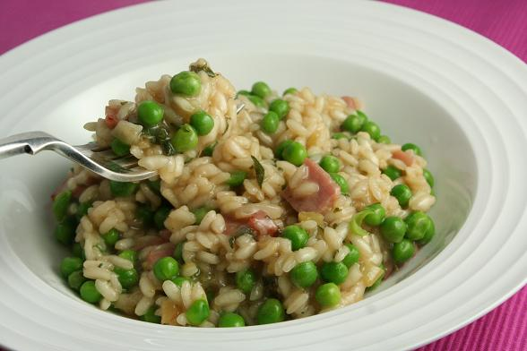 risotto-with-bacon-and-peas-and-sage
